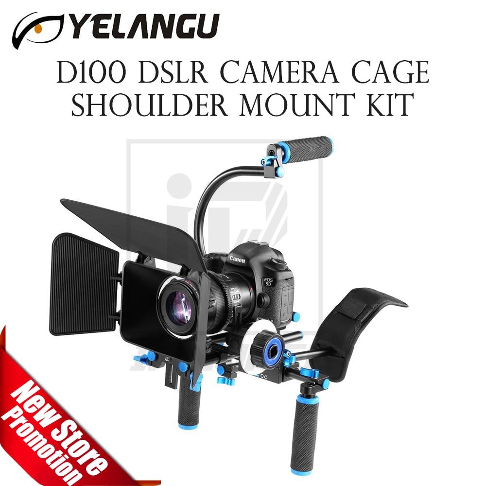 YELANGU D100 DSLR Camera Rig Cage Shoulder Mount Kit Stabilizer Support Follow Focus Matte Box C Shape handheld tube микрофоны madboy c tube 10