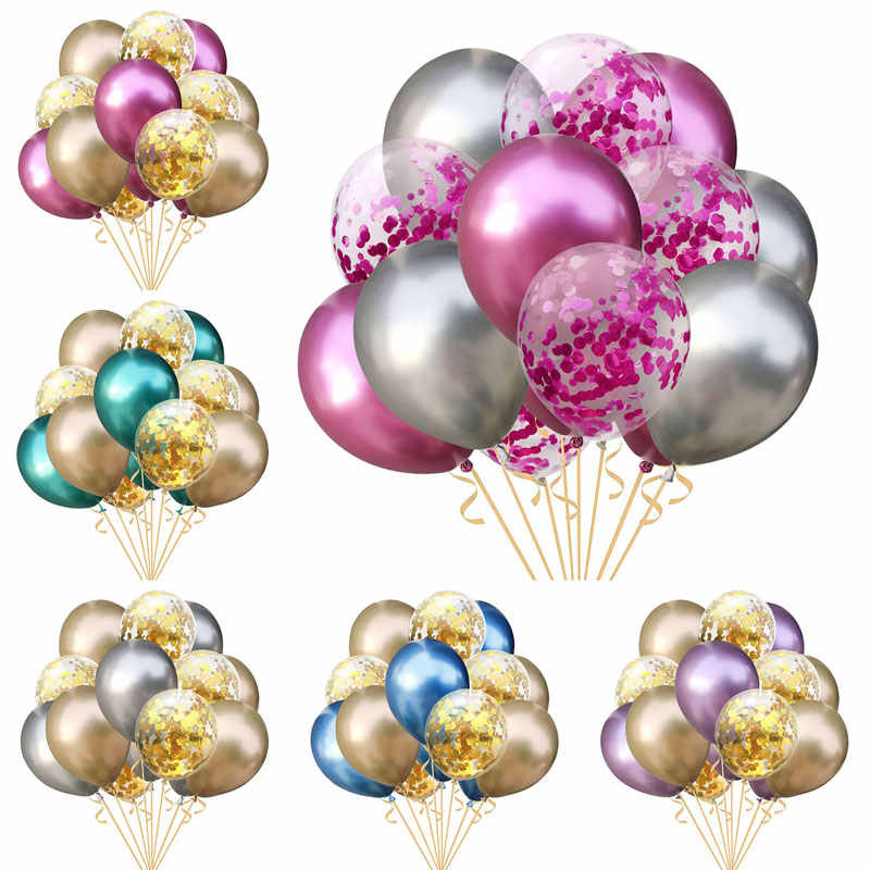 10Pcs Mixed Gold Confetti Balloons Birthday Party Decoration Metal Chrome Balloon Air Ball Birthday Ballon Party Decor Baloon