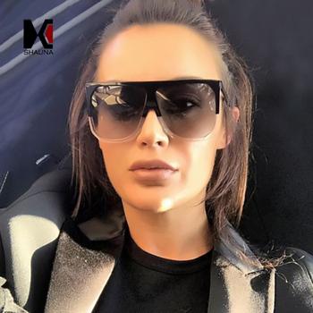 SHAUNA Fashion Oversize damskie kwadratowe markowe okulary przeciwsłoneczne projektant klasyczny letni styl podwójne kolory płasko zakończony okulary ramowe tanie i dobre opinie Lustro Fotochromowe Gradient Dla dorosłych Kobiety Z tworzywa sztucznego Plac SH6528 Poliwęglan 60mm 52mm 100 UV 400 Protection against harmful