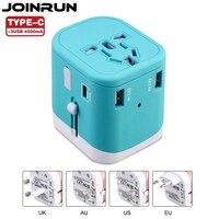Joinrun Travel Adapter Internazionale Adattatore di Alimentazione Universale All-in-one con 2.4A 3 USB In Tutto Il Mondo Caricabatterie Da Muro per UK/EU/AU/US