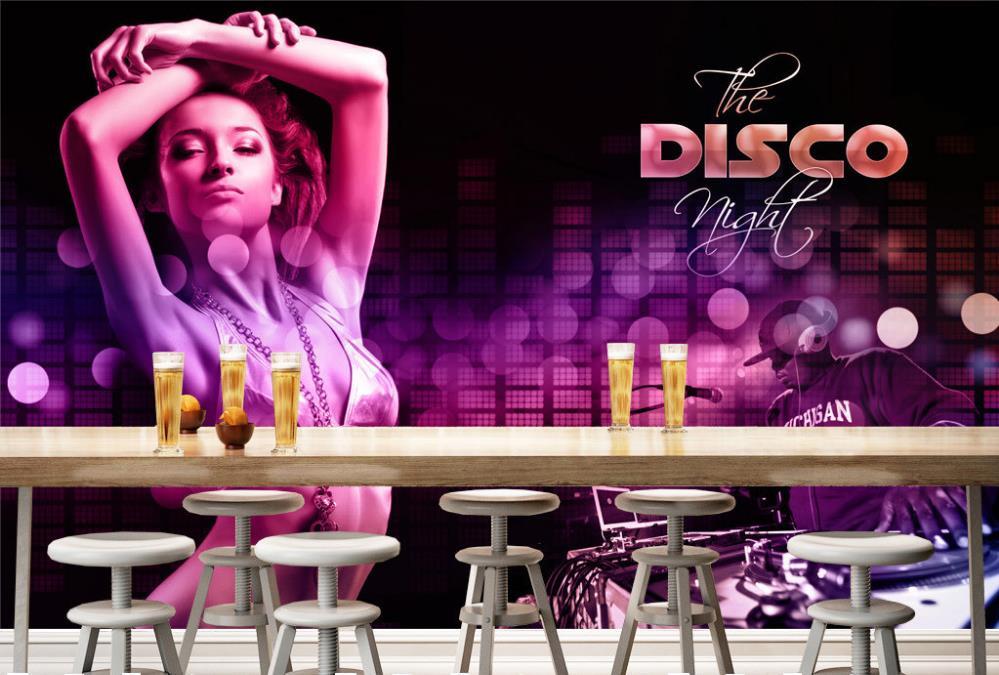 3D Wallpaper Custom Photo Wall Paper Nightclub Disco Bikinis Beauty Gril TV