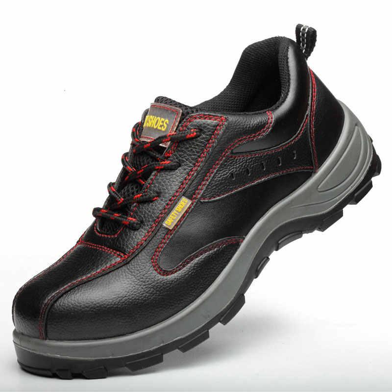 Ao Ar Livre dos homens Sapatos de Trabalho Biqueira de Aço Couro Rachado da Vaca Homens Botas de Segurança Sapatos de Construção Industrial À Prova de Punção