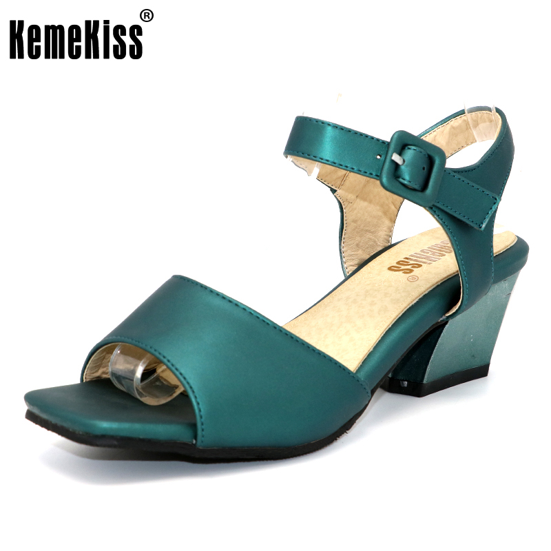 KemeKiss Size 31-47 Women's High Heel Sandals Women Ankle Strap Peep Toe Shoes Ladies Square Casual Sandals Female Footwear kemekiss size 33 42 women s high heel wedge shoes women cross strap platform pumps round toe casual mixed color ladies footwear