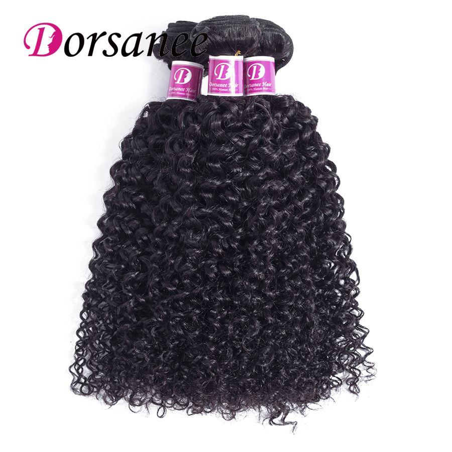 Dorsanee Hair kinky Curly Brazilian Human Hair Extensions Non Remy Human Hair Weaves Afro Kinky Curly 3 Bundles