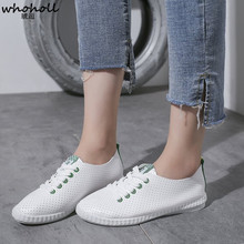 WHOHOLL Shoes Woman  New White Fashion mesh Casual Women Shoes Breathable Female Shoes Tenis Feminino Lace-up Sneakers Women недорого