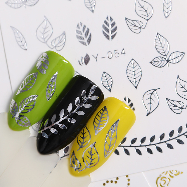 3D Nail Art Stickers Silver Gold Hollow Decals Flower Butterfly Cute Animal Mixed Patterns Adhesive Transfer Stickers