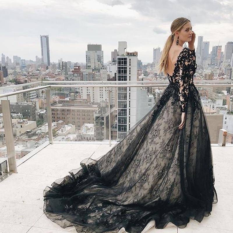 Black Lace Wedding Gowns: Black Wedding Dress 2019 Long Sleeve Vintage Lace Wedding