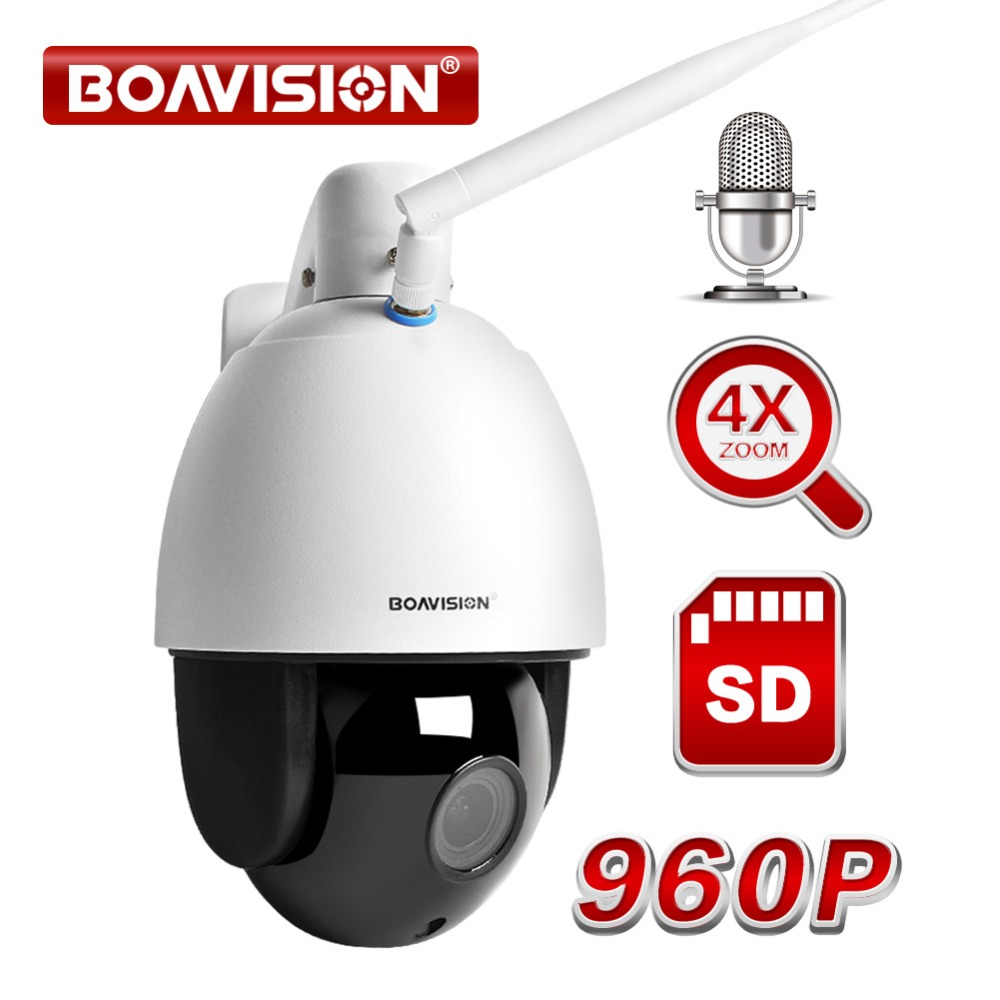 960P 4X Zoom PTZ Dome IP Camera Wireles Audio Security Video Surveillance WIFI Camera Outdoor CCTV Cam ONVIF IR 60M TF Card Solt cctv cam ip camera 1080p hd outdoor waterproof pt onvif surveillance inspection dome security camera ir led