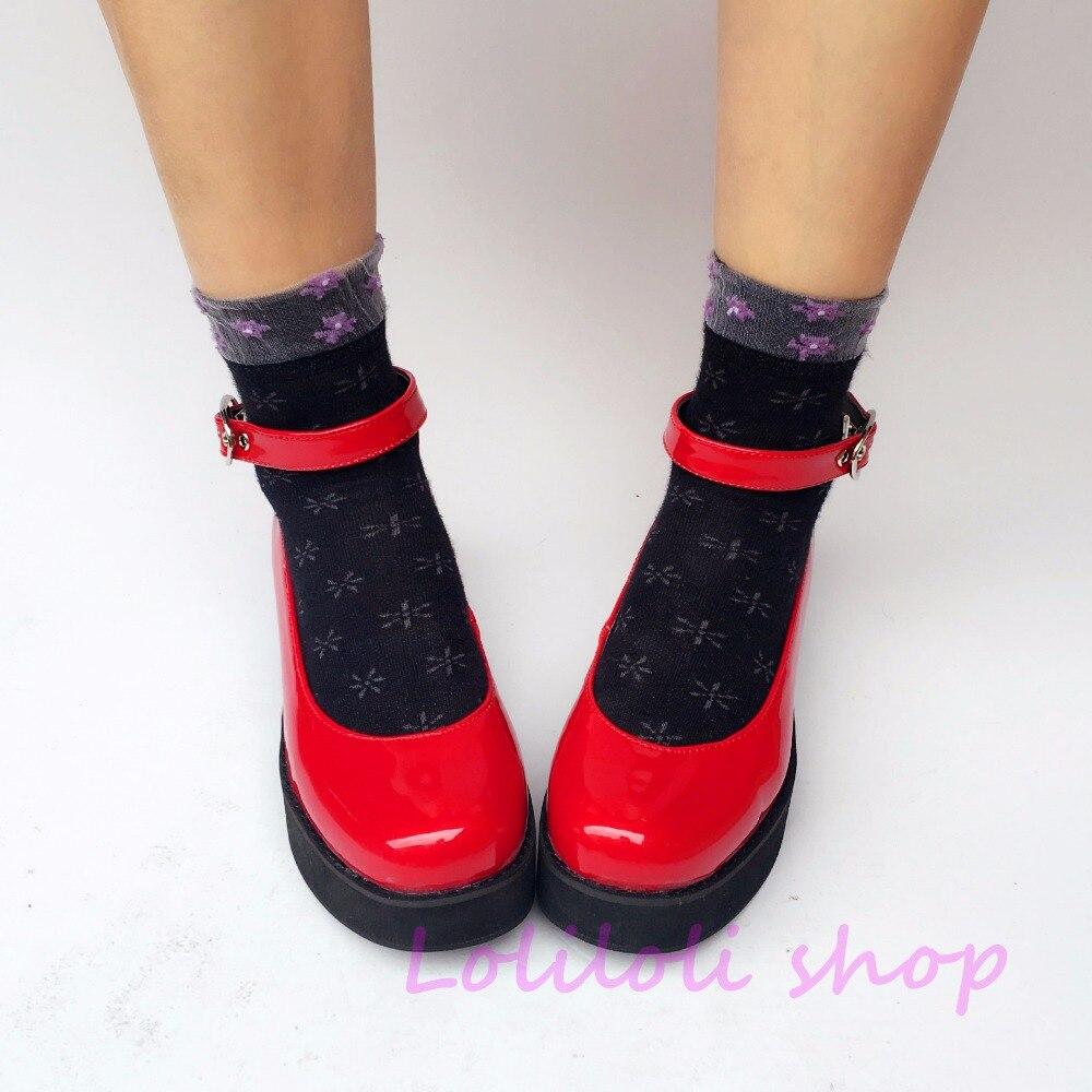 Princesse douce lolita chaussures design japonais personnalisé spécial en forme de miroir rouge cravate plate-forme chaussures 9149a