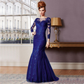 2017 New Sexy Bateau Long Sleeve Evening Gowns Long Royal Blue Mother Of The Bride Dress vestidos de festa Mermaid Prom Dresses
