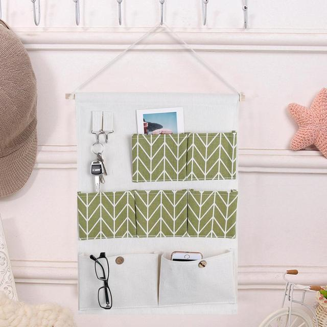 7 Pockets Cotton Linen Wall Hanging Storage Bags Closet Door Pouch For  Bedroom Kitchen Home Office