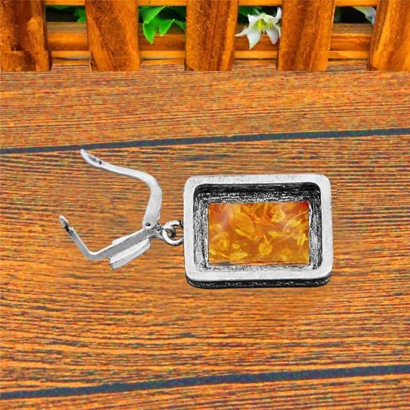 Podłużne syntetyczne Ambers kolczyki dla kobiet antyczny posrebrzany kwiat kwadratowy wisiorek Vintage kolczyk