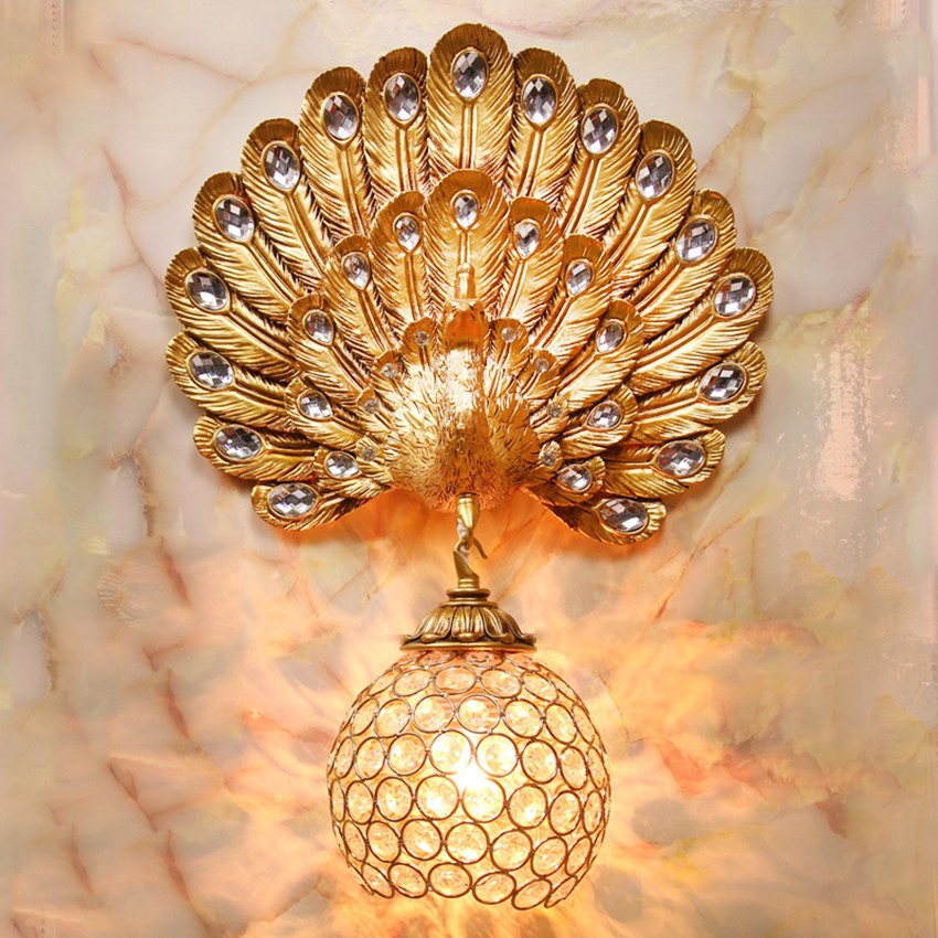 European-style creative peacock lamp wall lamp European study bedside staircase living room aisle wall TV crystal wall lamp European-style creative peacock lamp wall lamp European study bedside staircase living room aisle wall TV crystal wall lamp