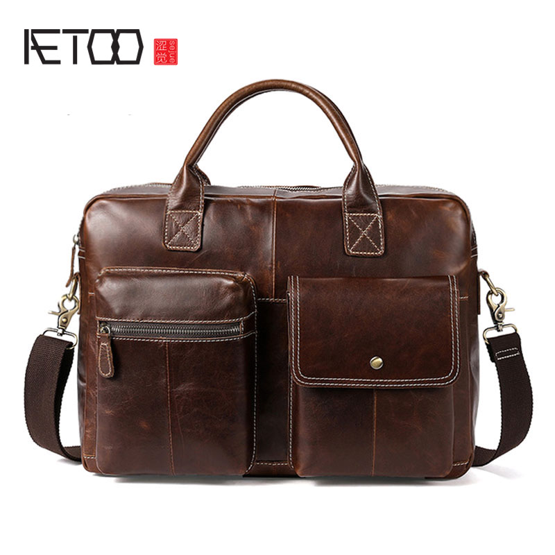 AETOO New men's bag custom retro men's handbag cross section large capacity business bag Messenger bag large size handbag retro bag 100