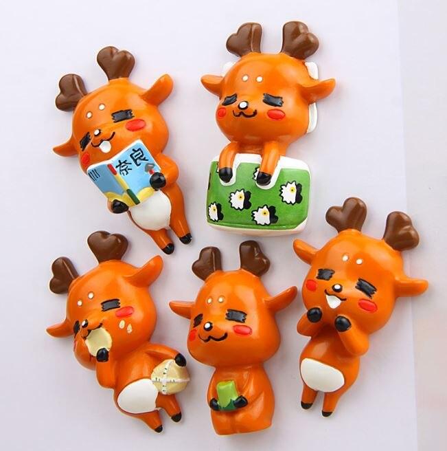 1 шт. Kawaii Олень холодильник магнитные наклейки миниатюрные игрушки фигурку мультфильм животных магнит на холодильник детей подарок на день ...