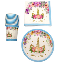 60PCS Birthday Wedding Party Unicorn Theme Dishes Plates Decoration Cups Girls Favors Baby Shower Napkin 20 People Tableware Set