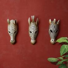 Primitive African Style Emulational Animals Mask Wall Hanging Decoration Bar Restaurant Creative Wall Artwork Trendy Resin Craft