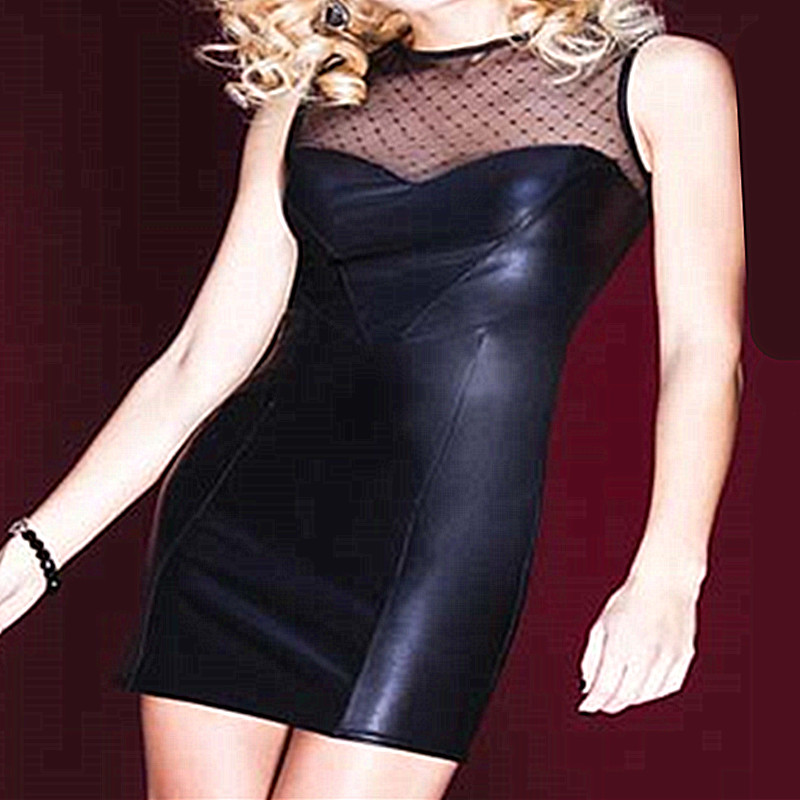 2016 Hot Sale Sexy Women Fashion Pu Leather Club Wear Short Tight Black Mesh Sleeveless Mini Dress