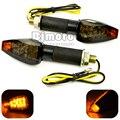 Universal Motorcycle black housing smoking Lens Amber LED  turn signal Lights 12V Indicators Flashers For bobber yamaha suzuki