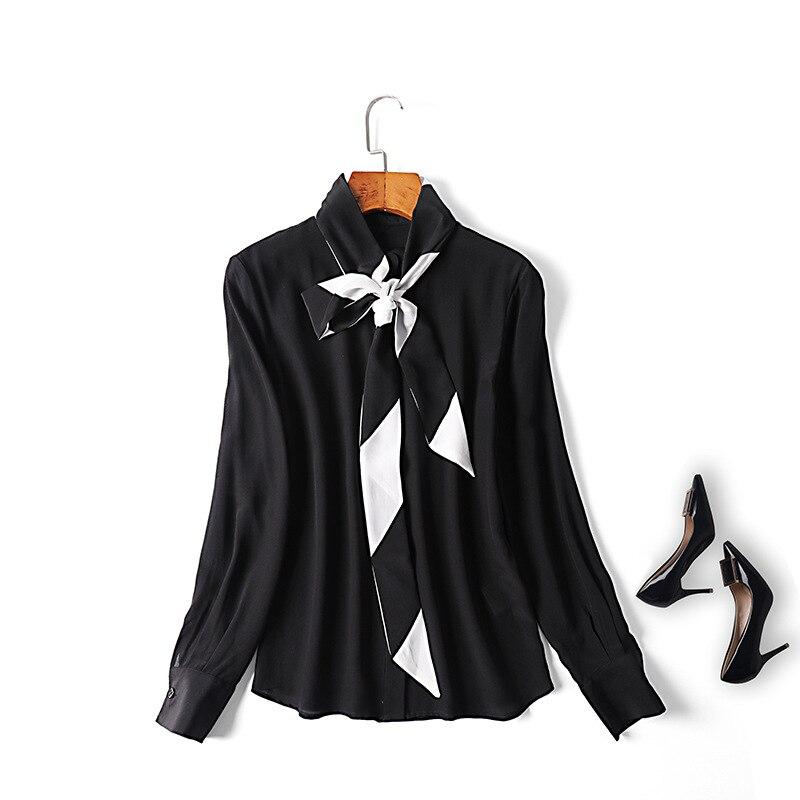 Femmes bureau dame noir blanc mûrier soie chemises à manches longues couleur bloc arc col élégant hauts blouse nouveau 2019 printemps