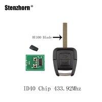 Stenzhorn llavero remoto 2 Botones 433.92 MHz + nuevo remoto y transponder id40 para Vauxhall Opel Astra Vectra Zafira llave original