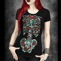 Goth Esqueleto Crânio das Mulheres Camisa do Verão 2017 Perspectiva Flores Floral Preto Impresso Solta Curto-de mangas compridas T-shirt