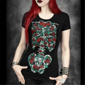Goth Women's Shirt Summer 2017 Perspective Skeleton Skull Flowers Black Floral Printed Loose Short-sleeved T-shirt