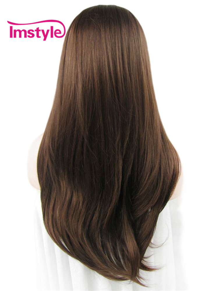 Imstyle Straight Synthetic Brown Wig 24 Inches Lace Front Wigs For Woman Soft Natural Hair Heat Resistant Fiber Cosplay