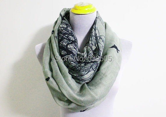 Grey Winter Bird Infinity Scarf Black Bird on Trees Infinity Scarf Loop Scarf Christmas Gift 10pcs/lot free shipping