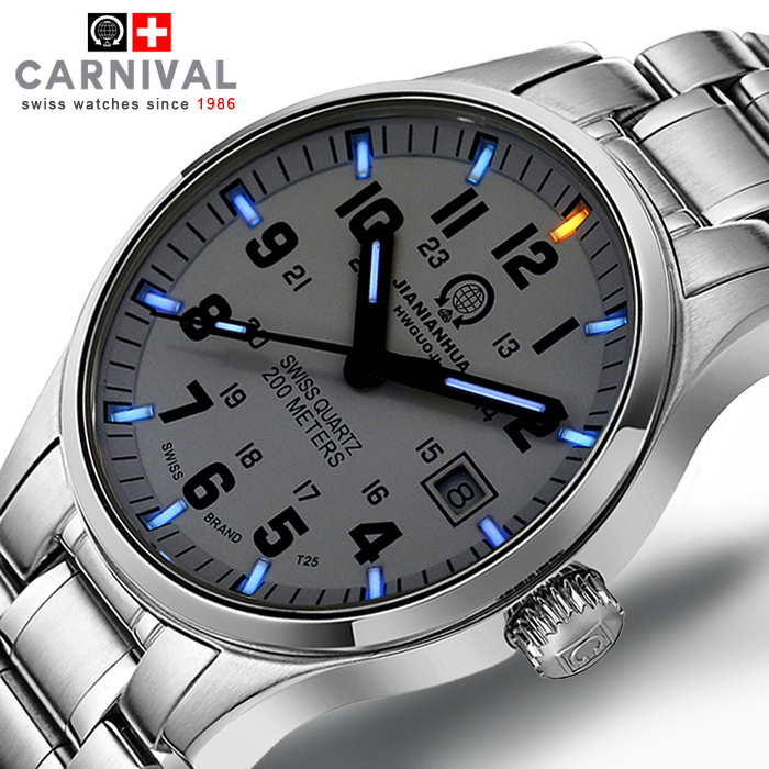 Genius Swiss Tritium Gas Carnival Luminous Watch Men Waterproof Quartz Watch Male Full Steel Military watches