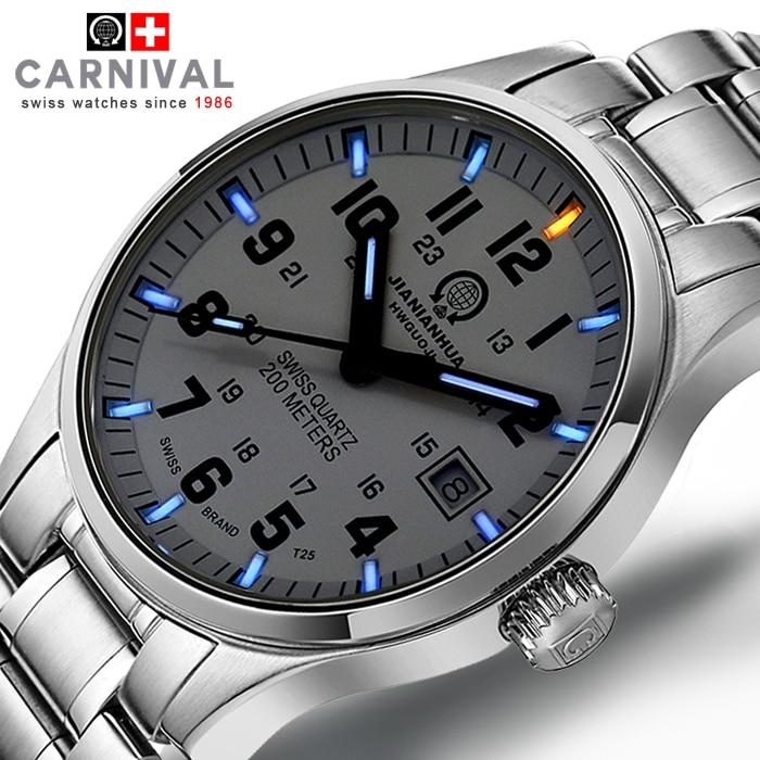 Tritium gaz lumineux marque carnaval montre hommes étanche montre à Quartz mâle plein acier militaire bleu montres relogio masculino