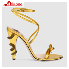 New Gold metal Snake Around heel Sexy Sandals Women Bowknot High Heels Summer Party Shoes ankle strap Slingback Sandalias mujer все цены