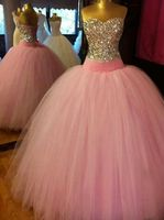 Princess Ball Gown Long Pink Quinceanera Prom Dresses 2017Sweetheart Tulle Formal Evening Dress