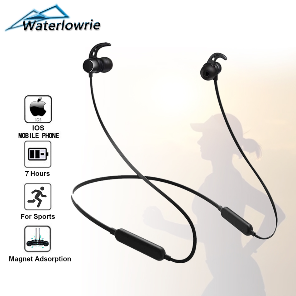 Waterlowrie Bluetooth Earphone Wireless Neckband Earbuds For Phone Running Gym Sport In Ear Magnetic Headphones Headset With Mic