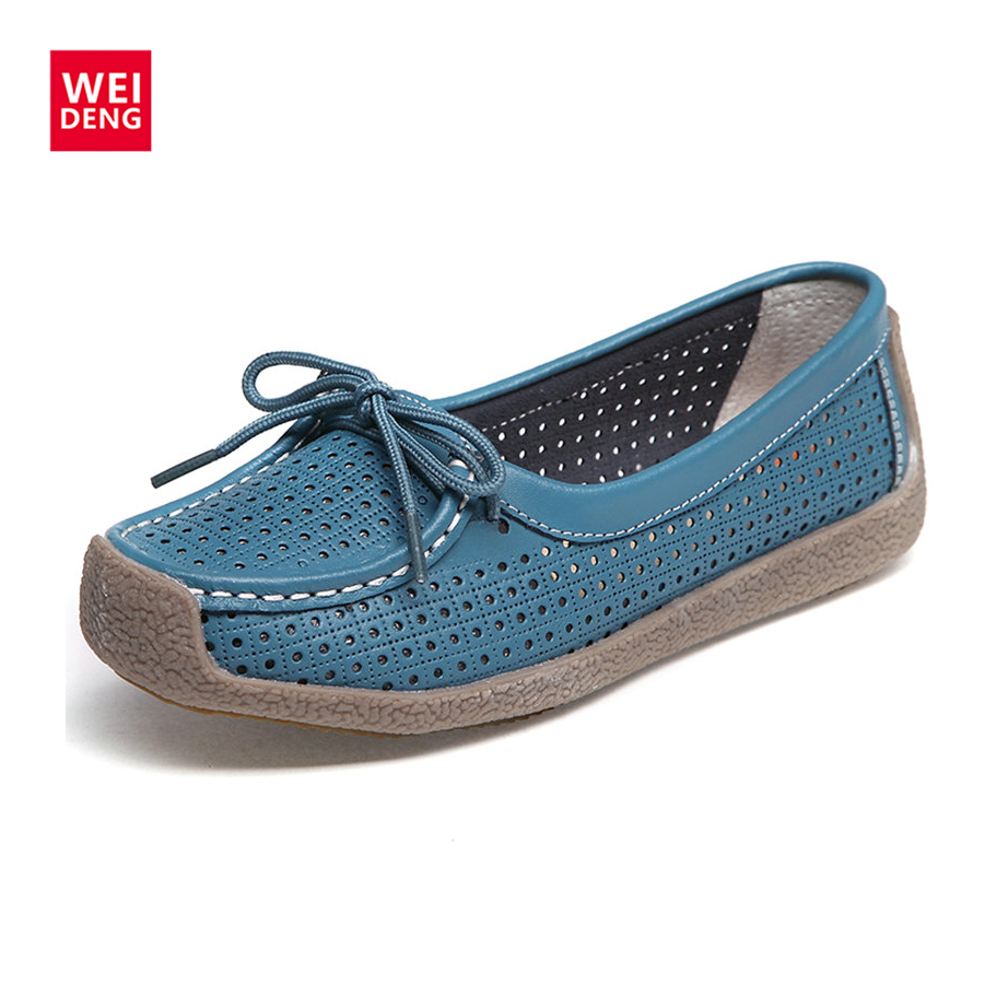 Casual Women Genuine Leather Flat Boat Shoes Hollow Out Slip on Flat Breathable Lace up Soft Gommino Comfortable branded men s penny loafes casual men s full grain leather emboss crocodile boat shoes slip on breathable moccasin driving shoes
