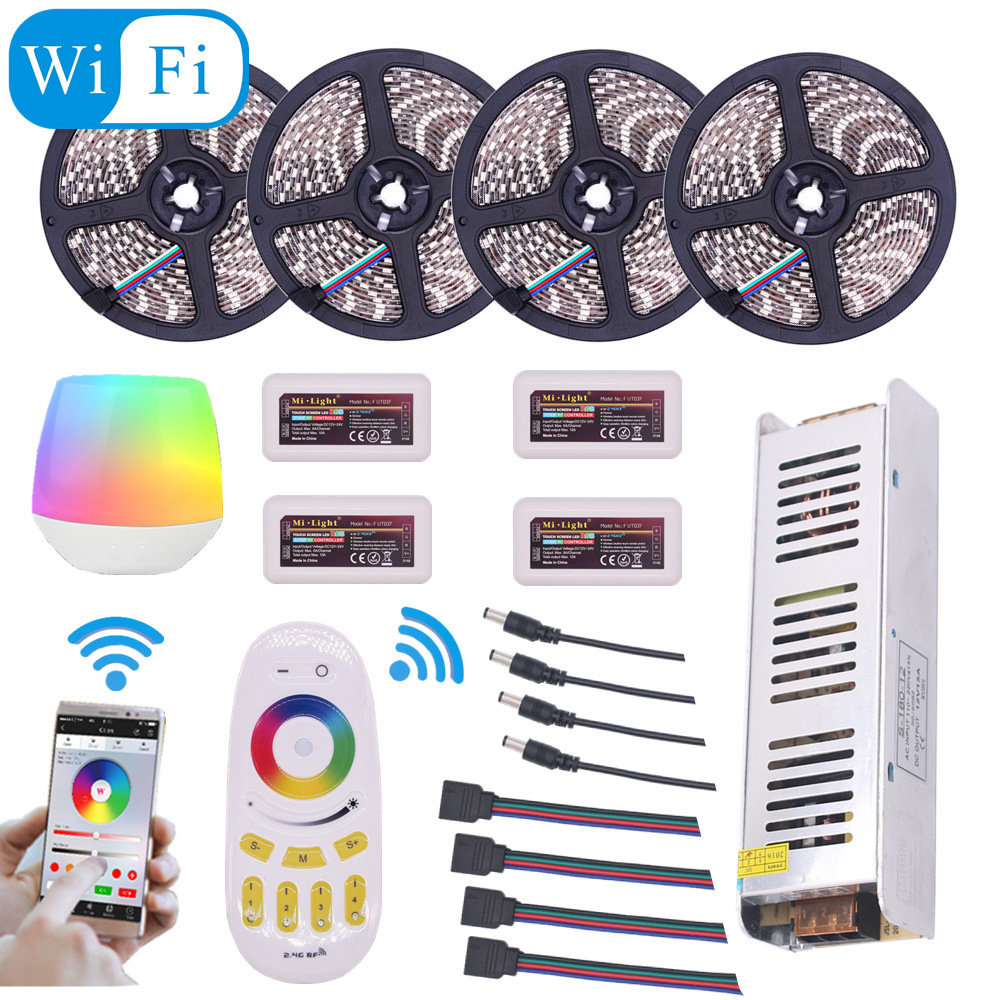 Mi Light WIFI LED Strip Waterproof 5050 RGBW RGBWW RGB 5M 10M 15M 20M DC 12V LED Light 60led/m With RF Remote Controller Power 10m 5m 3528 5050 rgb led strip light non waterproof led light 10m flexible rgb diode led tape set remote control power adapter