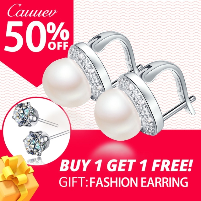 AAAA Top Quality 100% Natural Freshwater Pearl  Stud Earrings For Women Fashion Elegant Party Zircon 925 Sterling Silver Jewelry