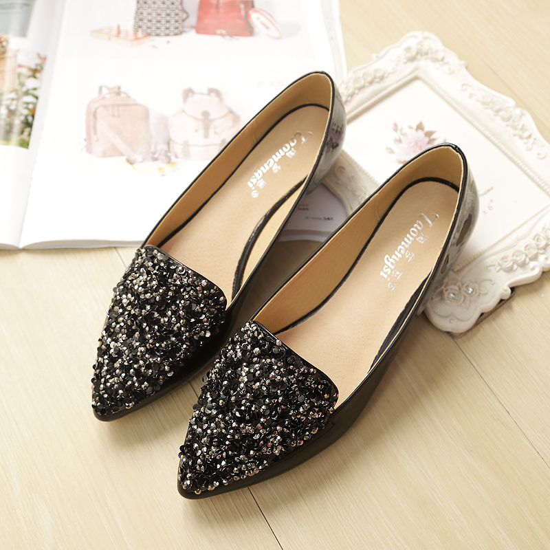 2019 New Summer Pointed Toe Pu Leather Sweet Light Mouth Casual Single Shoes Fashion Pregnant Women