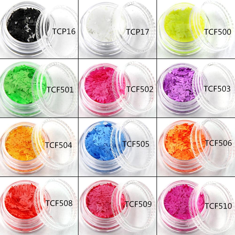 TCT-020 Neon Színes olvent rezisztens Pillangó formák és 12 féle - Köröm művészet - Fénykép 3