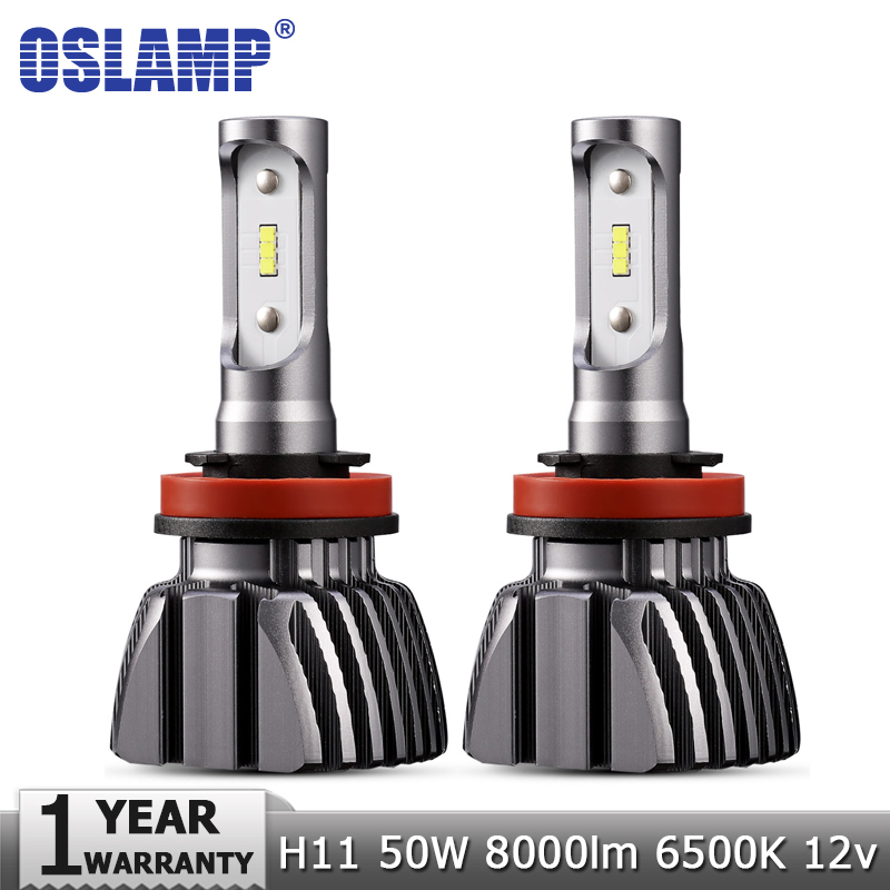 Oslamp H11 LED Car Headlight CSP Chips H8 H9 50W 6500K 8000lm Fog Light Bulb Auto Led Headlamp 12v 24v Headlights Bulbs 1pair h8 h9 h11 car led headlight bulb cob 72w 8000lm car led fog lights auto led headlamp bulbs for vw hyundai toyota kia honda