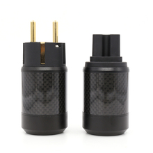 Free shipping pair Moonsaudio carbon fiber EU Standard brass Gold plated Power Plug for audio DIY power wire free shipping sonarquest alloy shell rhodium plated us power plugs for diy audio power cable