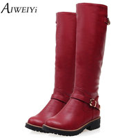 AIWEIYi Winter Boots 2017 Fashion Knee High Boots Women PU Leather Boots Buckle Zipper Low Heel