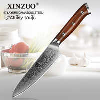 Cuchillo utilitario de 5 pulgadas XINZUO 67 capas cuchillo de cocina de acero de Damasco japonés venta superior de cuchillos de Paring con palo de rosa manejar