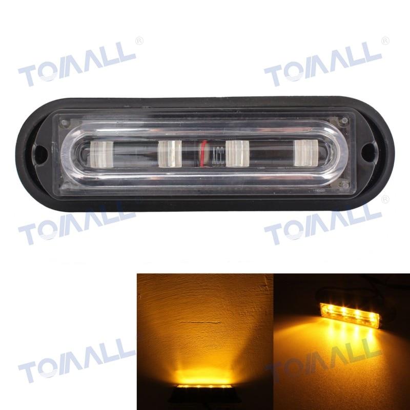 5.5 Warning Light Bar Waterproof Flashing Fog Lamp Pickup Truck Side Marker Lamp amber Yellow 4LED Car 18 Flash Patterns 12~24V 2pcs truck light 4 leds lamp