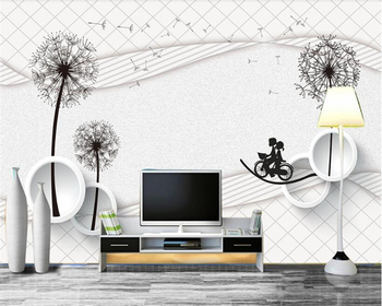 beibehang 3D Thicken creative three-dimensional ultra-slip 3d wallpaper simple dandelion clear fantasy wall papers home decor