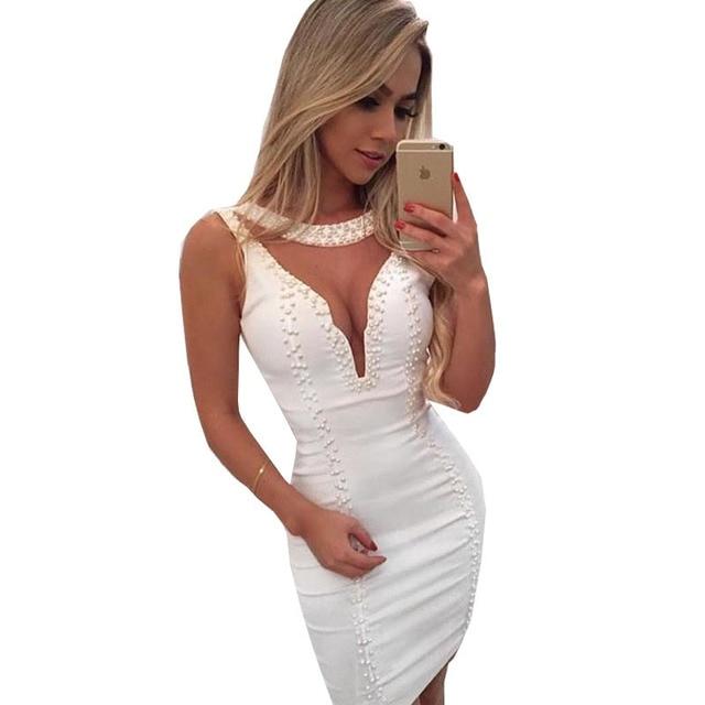 Vestido De Festa 2016 Summer Fashion Hollow Out Beading Women Dress Casual Work Business Club Party Dresses Sheath Vestidos S-XL
