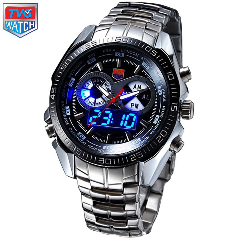 2016 Stainless Steel Black Men s Clock Military Blue Binary LED Pointer Watch Mens 30M Waterproof