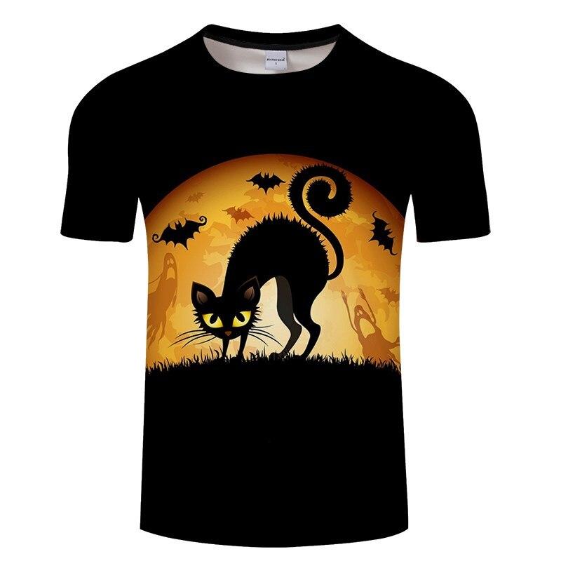 Черная футболка с 3D принтом кота для мужчин и женщин, летняя повседневная футболка с коротким рукавом и круглым вырезом, Топы И Футболки, Забавные футболки, Азиатские размеры S-6XL - Цвет: TXKH3142