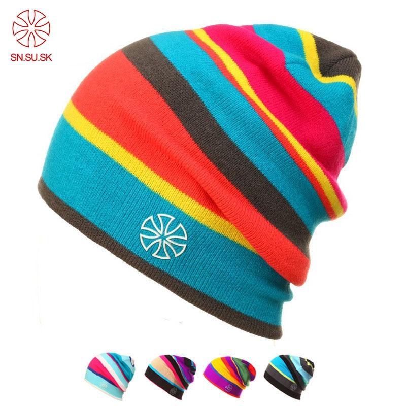 SN.SU.SK Winter Knit Caps New Fashion Snowboard Casual Skating Lot Snowboard Ski Hats Skullies Beanies For Men Women Gorro