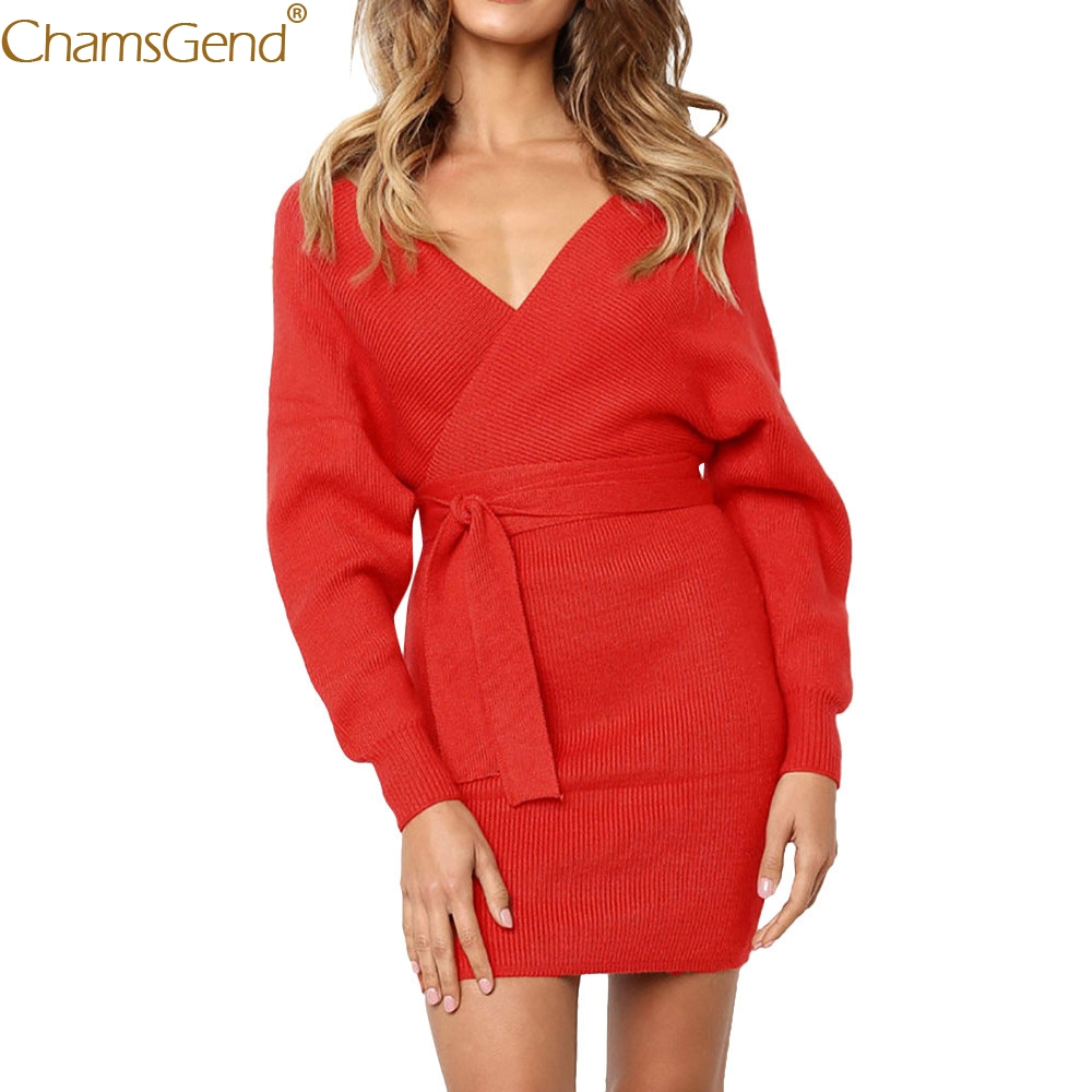 Solid  Ladies dresses woman party night long sleeve Deep V Neck dress women for wedding Ladies Mini party night Autumn Feb6
